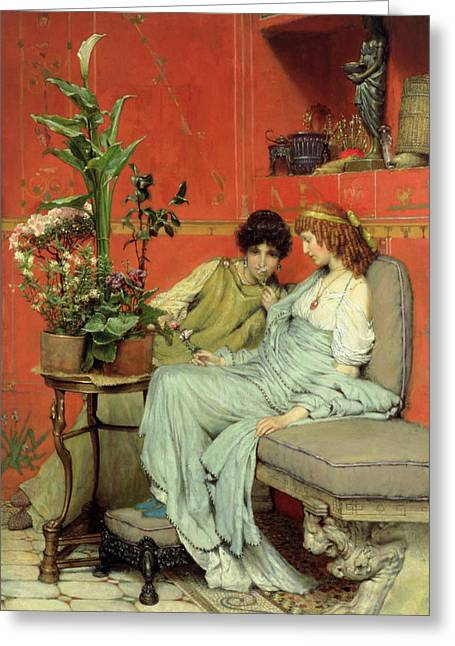 Best Sellers -  - Statue Portrait Greeting Cards - Confidences Greeting Card by Sir Lawrence Alma-Tadema
