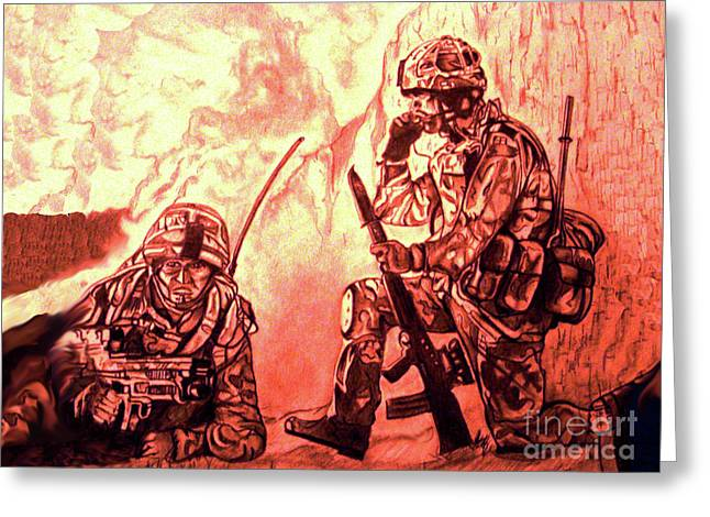 Iraq Prints Greeting Cards - Confrontation Greeting Card by Johnee Fullerton