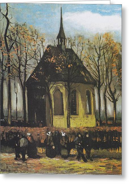Reform Digital Greeting Cards - Congregation Leaving the Reformed Church Greeting Card by Vincent Van Gogh