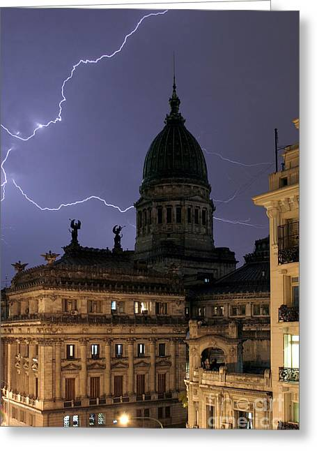 Cupola Greeting Cards - Congreso Lightning Greeting Card by Balanced Art