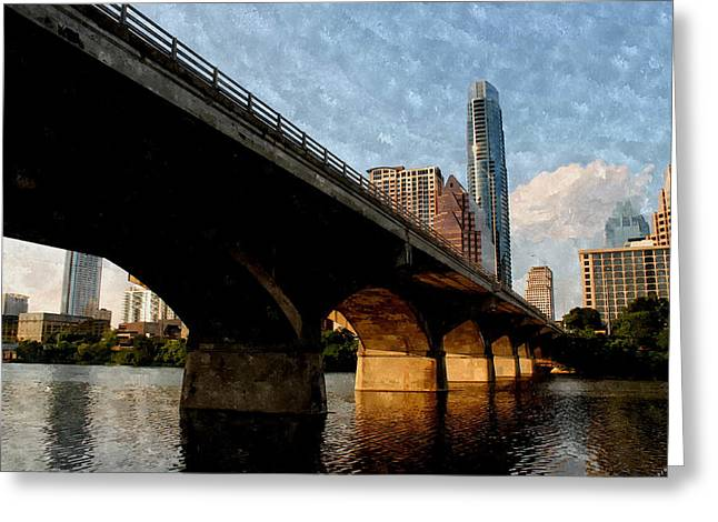 Frost Bank Building Greeting Cards - Congress Avenue Bridge and Downtown Austin Texas Greeting Card by Sarah Broadmeadow-Thomas