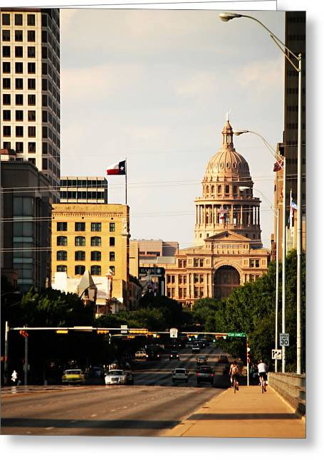 Frost Bank Building Greeting Cards - Congress Avenue in Austin and Texas State Capitol Building Greeting Card by Sarah Broadmeadow-Thomas