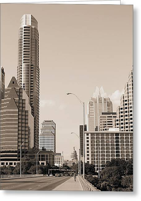 Frost Bank Building Greeting Cards - Congress Avenue in Austin Texas Sepia Greeting Card by Sarah Broadmeadow-Thomas