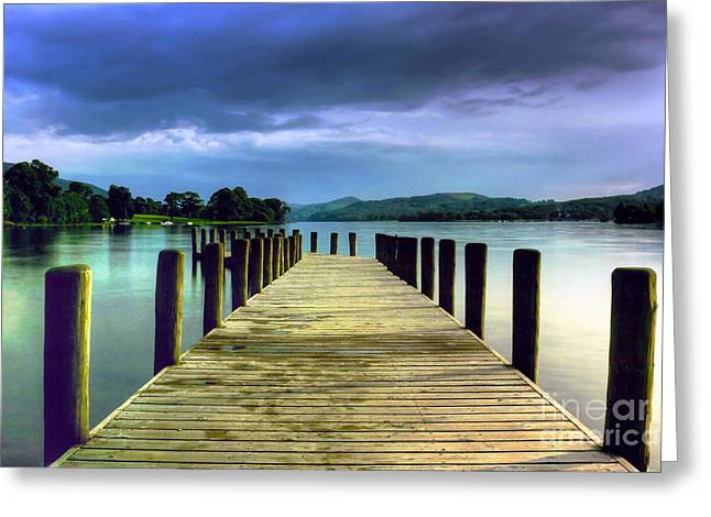Coniston Jetty Greeting Card by Neil Wharton