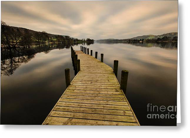 Coniston Water Jetty Greeting Card by John D Hare