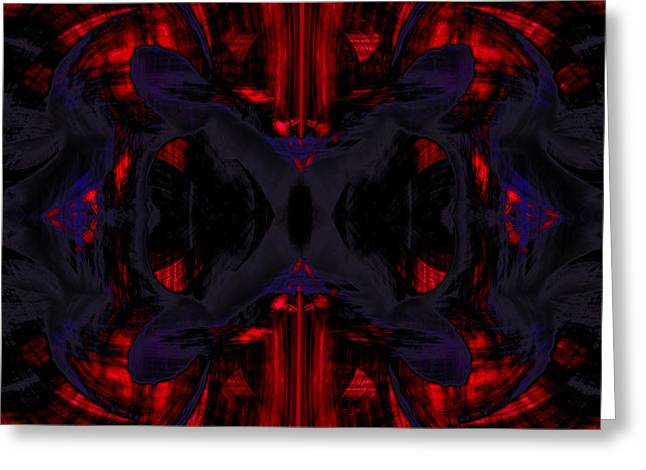 Flow Greeting Cards - Conjoint - Crimson and Royal. Greeting Card by Christopher Gaston