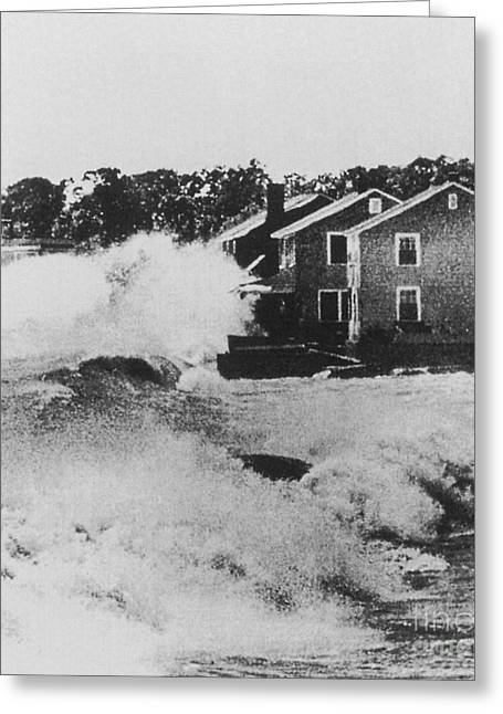 Flooding Greeting Cards - Connecticut During Hurricane Carol Greeting Card by Science Source