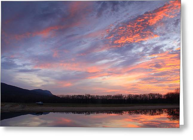 Connecticut River Greeting Cards - Connecticut River Oxbow and Mount Tom Sunset Greeting Card by John Burk