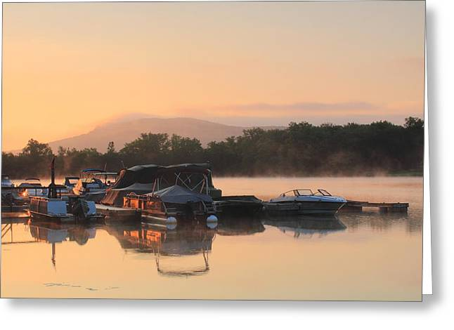 Connecticut River Greeting Cards - Connecticut River Oxbow Morning Fog Mount Holyoke Greeting Card by John Burk