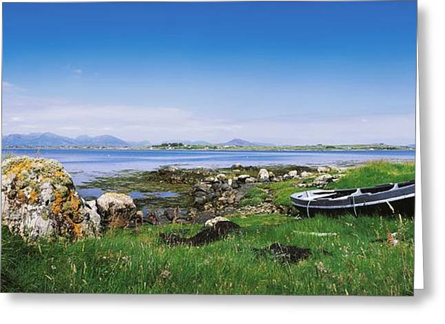 Ocean Panorama Greeting Cards - Connemara, Co Galway, Ireland Boat Near Greeting Card by The Irish Image Collection
