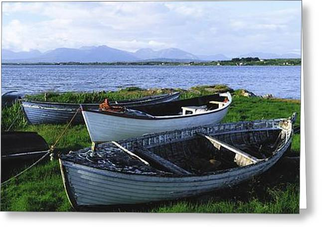 Ocean Panorama Greeting Cards - Connemara, Co Galway, Ireland Boats Greeting Card by The Irish Image Collection