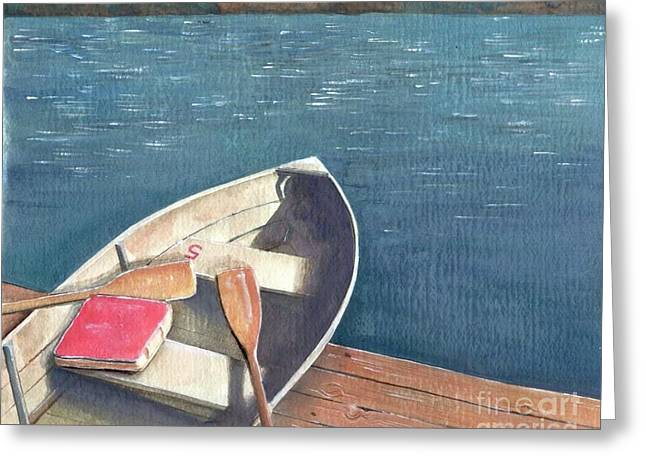 Mermaidspalette Greeting Cards - Connetquot Park Row Boat Greeting Card by Sheryl Heatherly Hawkins