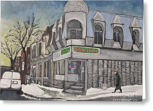 Montreal Life Greeting Cards - Connies Pizza PSC Greeting Card by Reb Frost