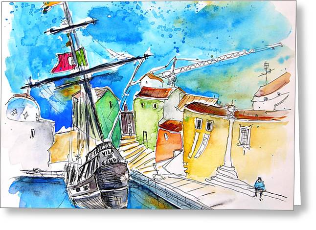 Sketch Jewelry Greeting Cards - Conquistador Boat in Portugal Greeting Card by Miki De Goodaboom