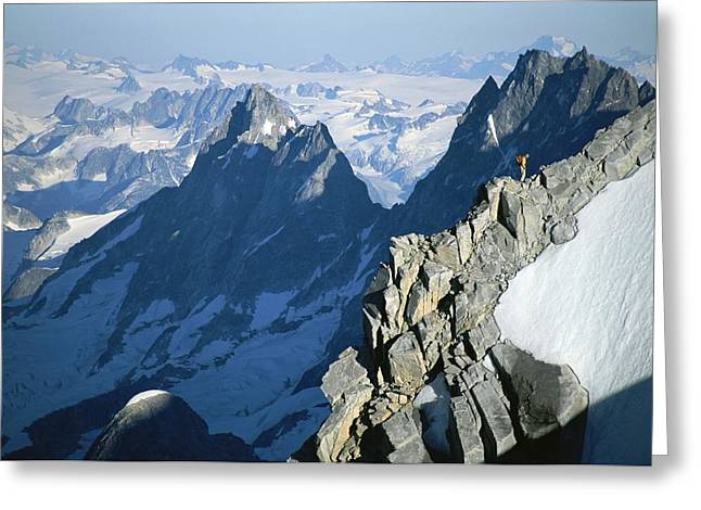 Jogging Greeting Cards - Conrad Anker On Mount Combatant, Coast Greeting Card by Jimmy Chin