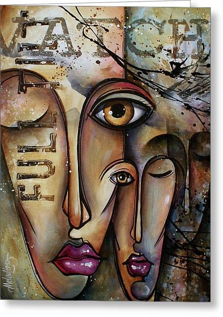 Urban Images Paintings Greeting Cards - Conscience Greeting Card by Michael Lang
