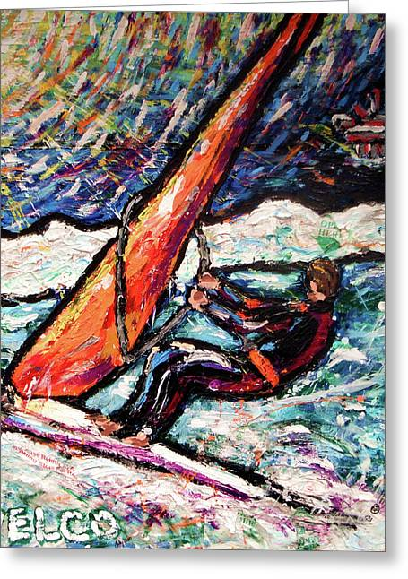 Wind Surfing Art Paintings Greeting Cards - Conscience Surfer Greeting Card by Dennis Velco