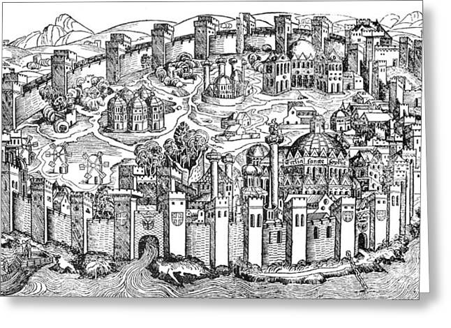1493 Greeting Cards - Constantinople, 1493 Greeting Card by Photo Researchers