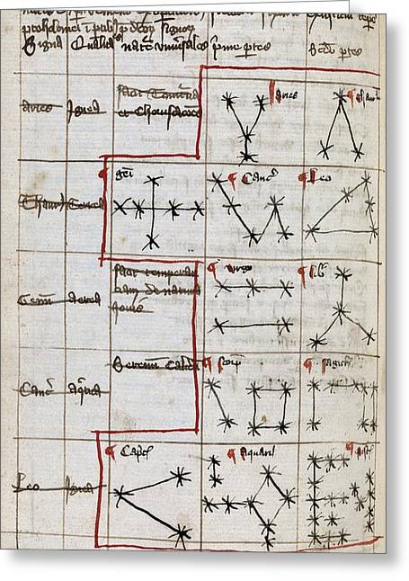 Constellations Photographs Greeting Cards - Constellations, 14th Century Manuscript Greeting Card by Middle Temple Library