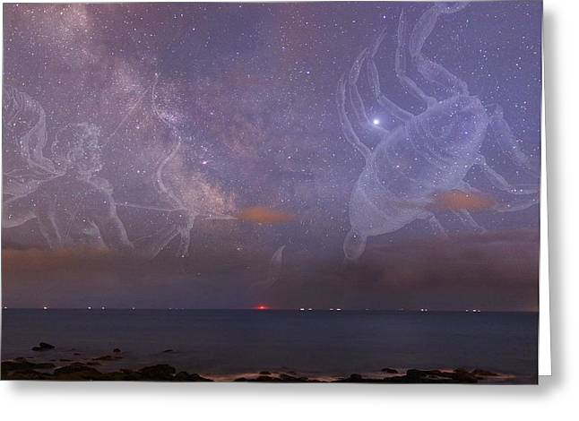 Constellations In A Night Sky Greeting Card by Laurent Laveder