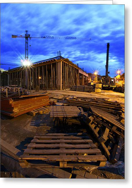Wooden Box Greeting Cards - Constraction site at night Greeting Card by Jaroslaw Grudzinski