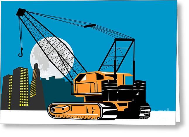 Construction Crane Hoist Retro Greeting Card by Aloysius Patrimonio