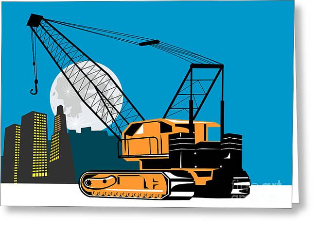 Construction Crane Hoist Retro Greeting Card by Aloysius Patrimonio