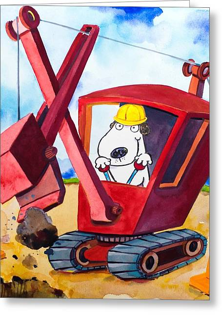 Scott Nelson Paintings Greeting Cards - Construction Dogs 2 Greeting Card by Scott Nelson