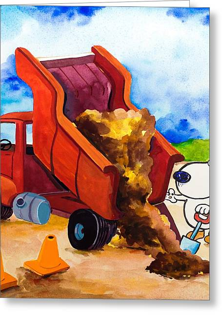 Jackhammer Greeting Cards - Construction Dogs 4 Greeting Card by Scott Nelson