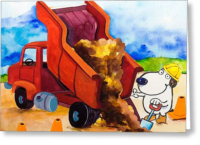 Construction Dogs 4 Greeting Card by Scott Nelson
