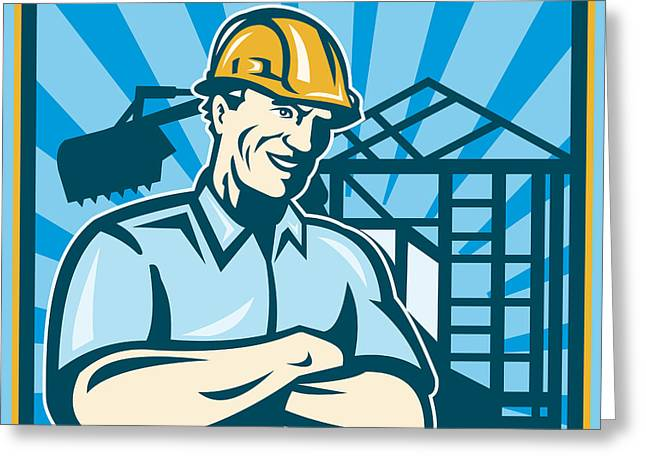 Construction Workers Greeting Cards - Construction Engineer Foreman Worker Greeting Card by Aloysius Patrimonio