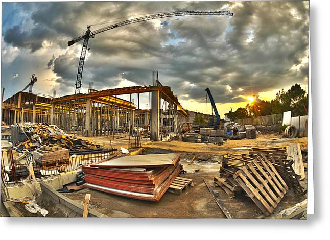 Built Greeting Cards - Construction site Greeting Card by Jaroslaw Grudzinski
