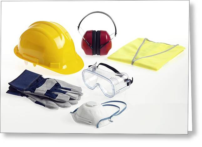 Fluorescent Yellow Greeting Cards - Construction Workers Safety Equipment Greeting Card by Tek Image