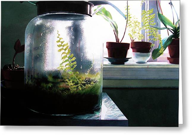 Interior Still Life Paintings Greeting Cards - Contained Greeting Card by Denny Bond