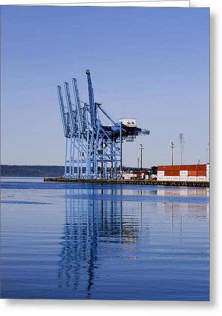 Wine Flowing Greeting Cards - Container Craines At The Port Greeting Card by Douglas Orton