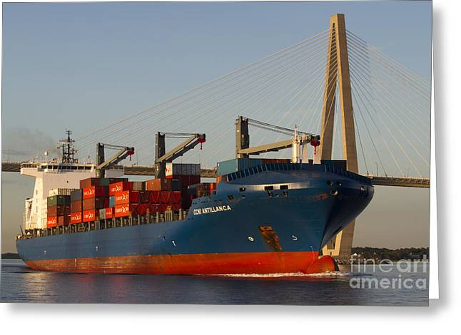 Containers Greeting Cards - Container Ship CCNI Antillanca in Charleston SC  Greeting Card by Dustin K Ryan