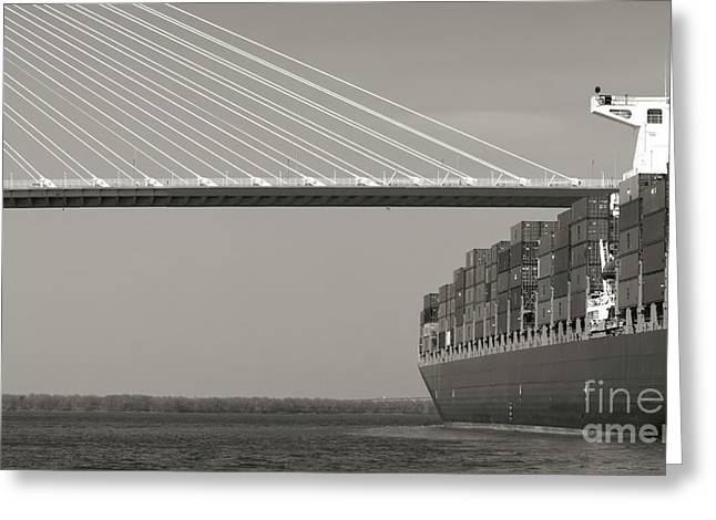 Container Greeting Cards - Container Ship Under Cooper River Bridge Greeting Card by Dustin K Ryan