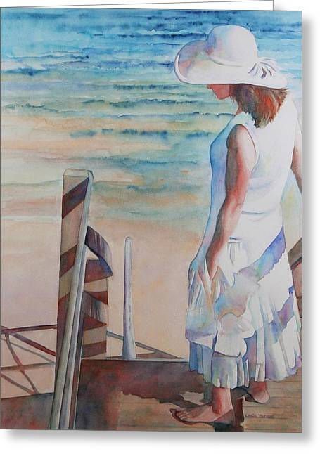 Mayflower Beach Greeting Cards - Contemplating the Bay Greeting Card by Leslie Berman
