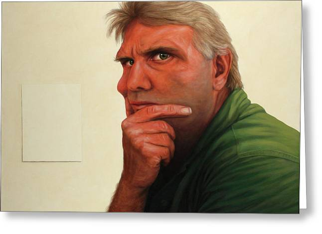 Pensive Greeting Cards - Contemplating the blank page Greeting Card by James W Johnson