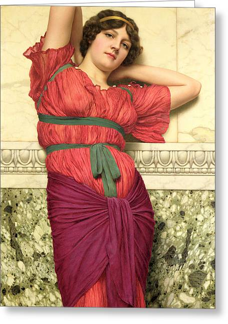 Short Hair Greeting Cards - Contemplation Greeting Card by John William Godward