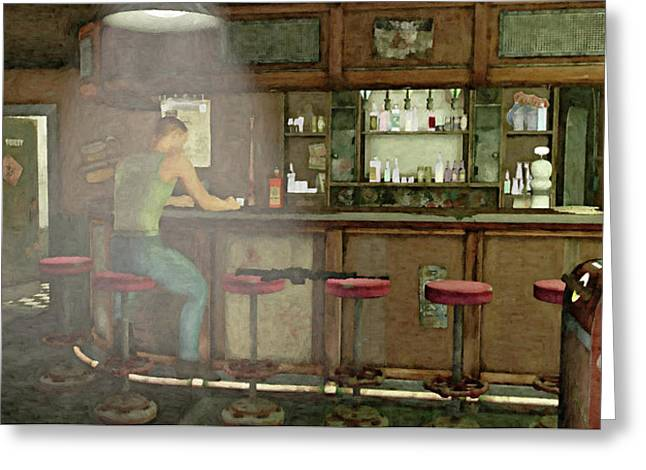 Neon Bar Stool Signs Greeting Cards - Contemplation Greeting Card by Peter J Sucy