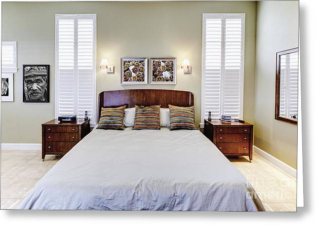 Bedspread Greeting Cards - Contemporary Bedroom Interior Greeting Card by Skip Nall