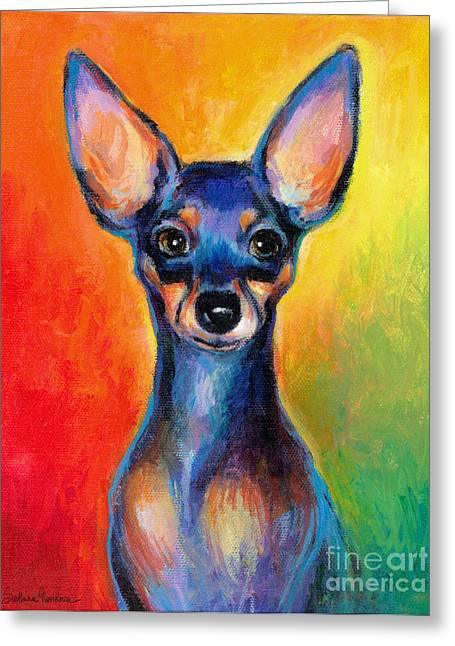Teacup Greeting Cards - Contemporary colorful Chihuahua chiuaua painting Greeting Card by Svetlana Novikova