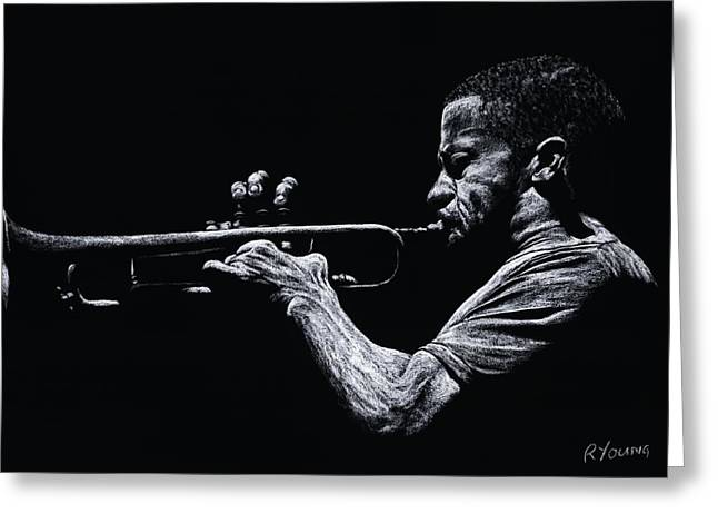 Performers Pastels Greeting Cards - Contemporary Jazz Trumpeter Greeting Card by Richard Young