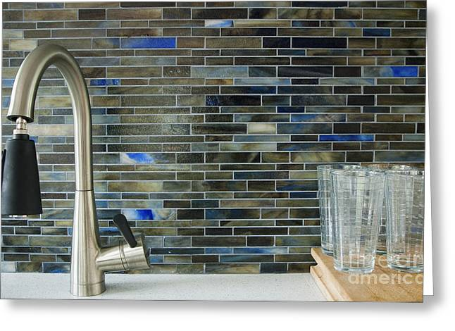 Faucet Greeting Cards - Contemporary Kitchen Sink Greeting Card by Marlene Ford