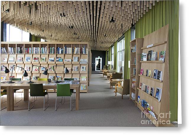 Shelving Greeting Cards - Contemporary Library Interior Greeting Card by Jaak Nilson