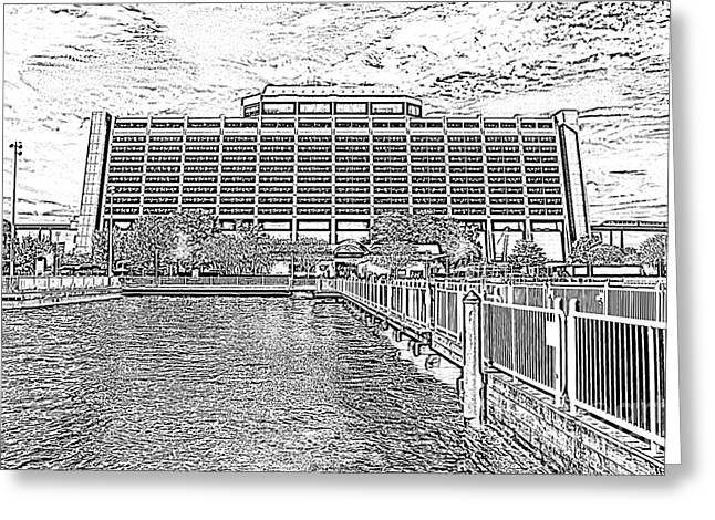 Photocopy Greeting Cards - Contemporary Resort Profile Walt Disney World Prints Black and White Photocopy Greeting Card by Shawn O