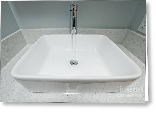 Drain Greeting Cards - Contemporary Sink Basin Greeting Card by Marlene Ford
