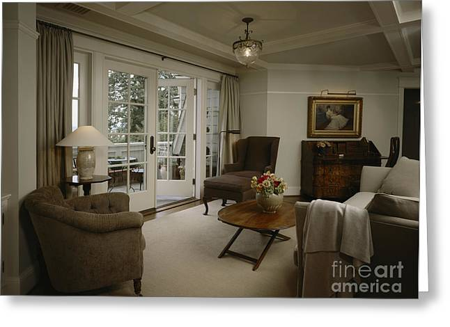 French Open Greeting Cards - Contemporary Sitting Room Greeting Card by Robert Pisano