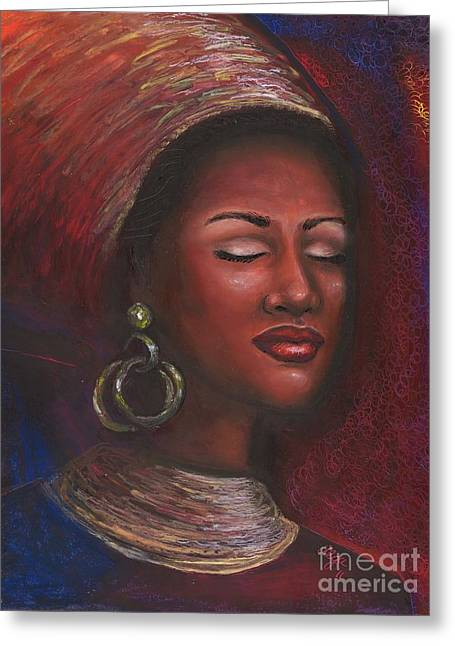 African-american Pastels Greeting Cards - Contentment Greeting Card by Alga Washington